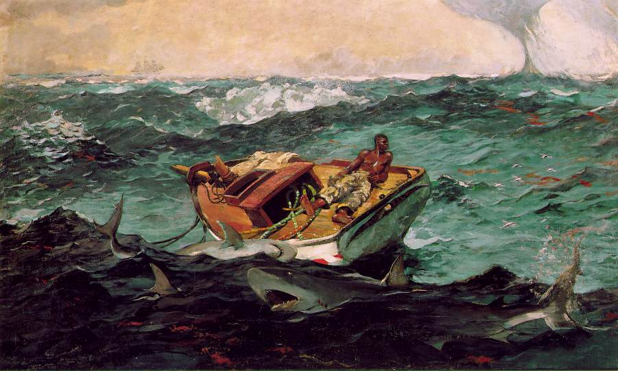 This image has an empty alt attribute; its file name is FineArt-WinslowHOMER-GulfStream-Sharks_around_boat.jpg